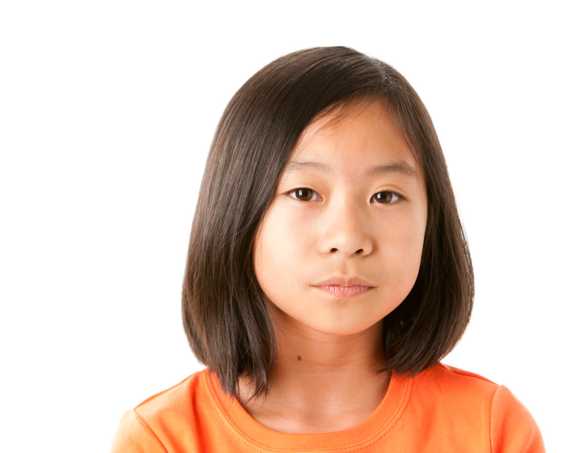 Orthodontics for kids, girl looking serious