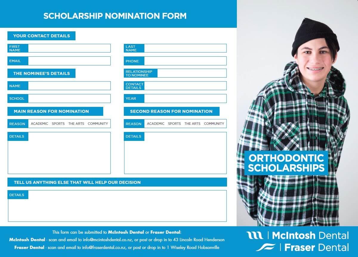 Orthodontic Scholarship nomination form